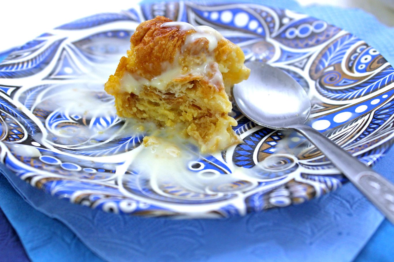 Bread and butter pudding with vanilla sauce