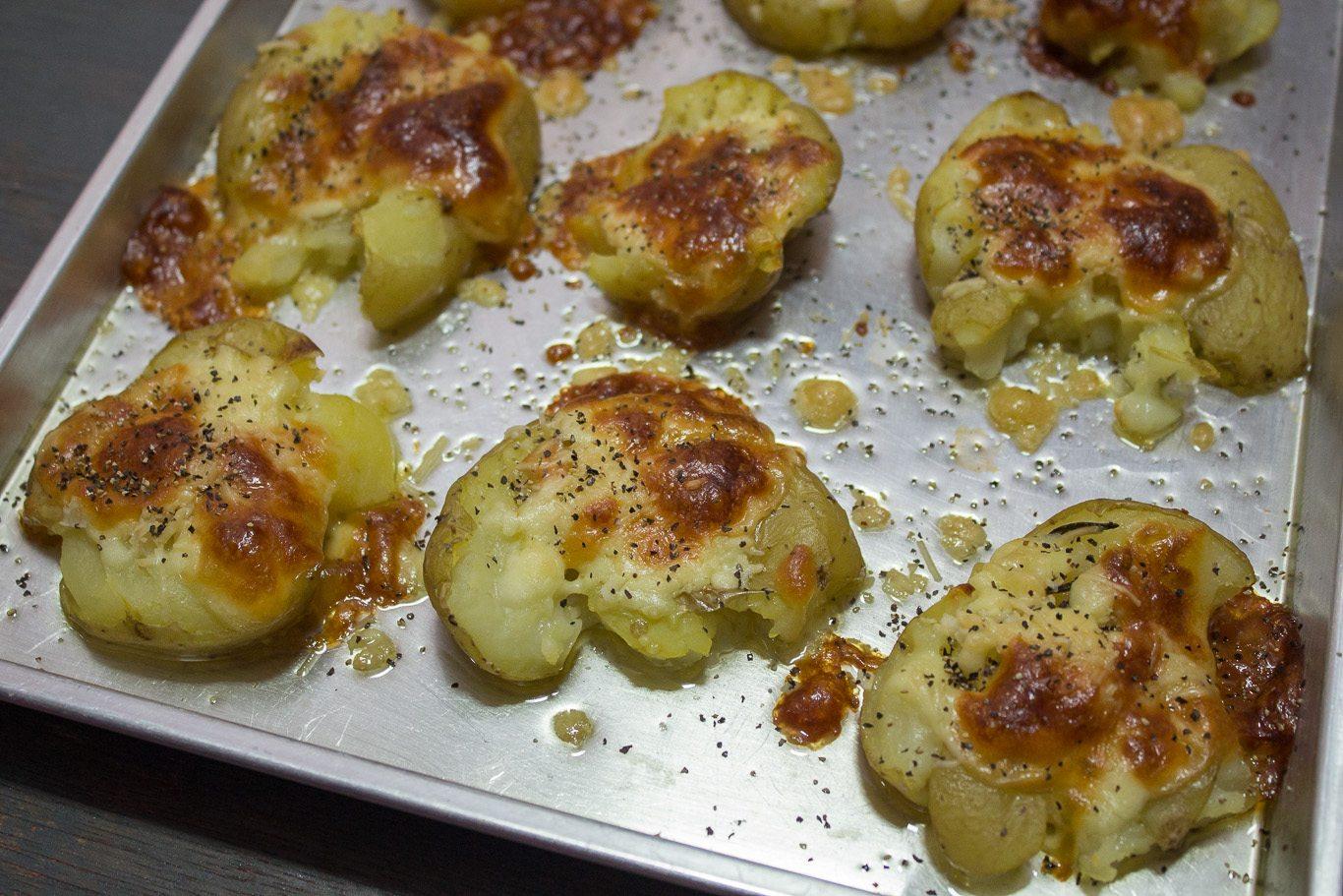 Garlic and Rosemary Smashed Potatoes