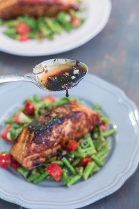Honey Garlic Salmon with Warm Chopped Asparagus Salad