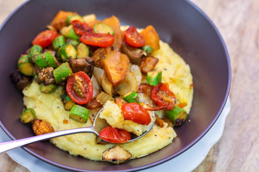 Grilled Vegetables with Parmesan Polenta