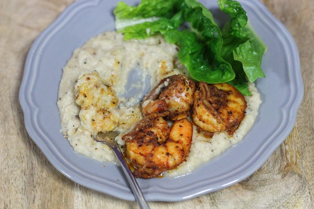Cauliflower Mash and Spicy Prawns