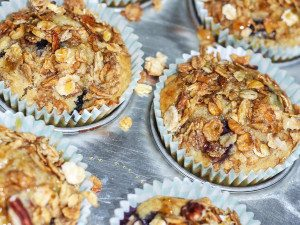 Blueberry Oatmeal Muffins with Granola Topping