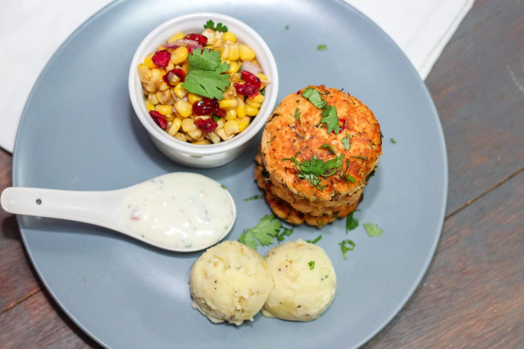 Thai Salmon Cakes and Corn Salad