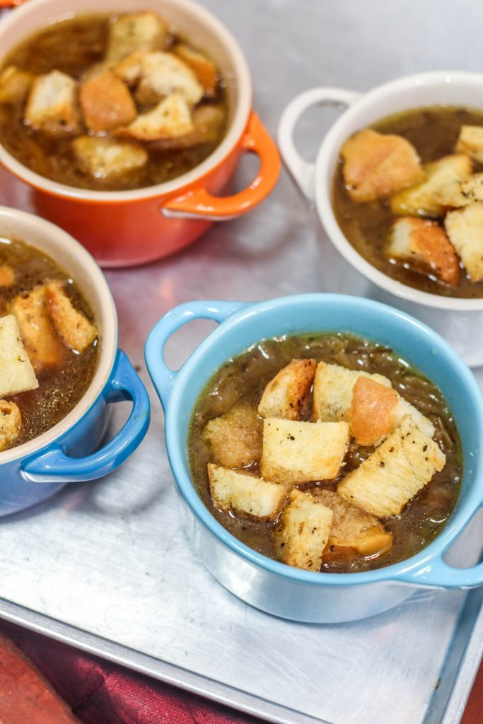 French Onion Soup with Garlic Croutons