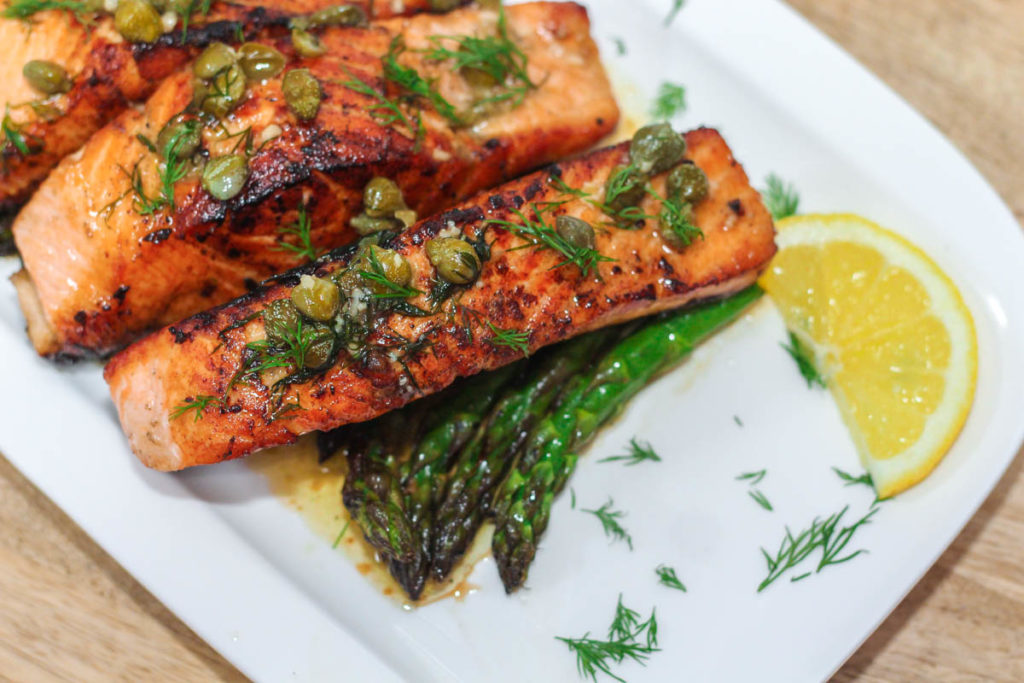 Salmon with Lemon Caper Butter
