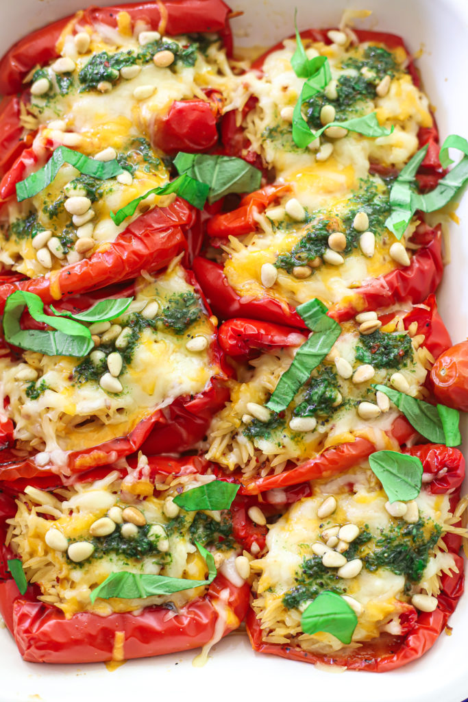 Cheesy Orzo Stuffed Red Peppers