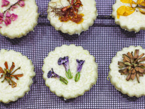 Edible Flower Lemon Shortbread Cookies